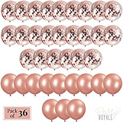 Rose Gold Balloons Pack of 36 - 12 in Premium Balloons (confetti & solid latex) - 64 ft Ribbon - Perfect for Birthday Party Decorations, Bridal Shower Balloons, Bachelorette Party, Wedding Decorations