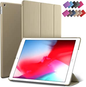 iPad Air 3 case, ROARTZ Metallic Gold Slim Fit Smart Rubber Coated Folio Case Hard Cover Light-Weight Wake/Sleep for Apple iPad Air 3rd Generation 2019 Model A2152 A2123 A2153 10.5-Inch Display