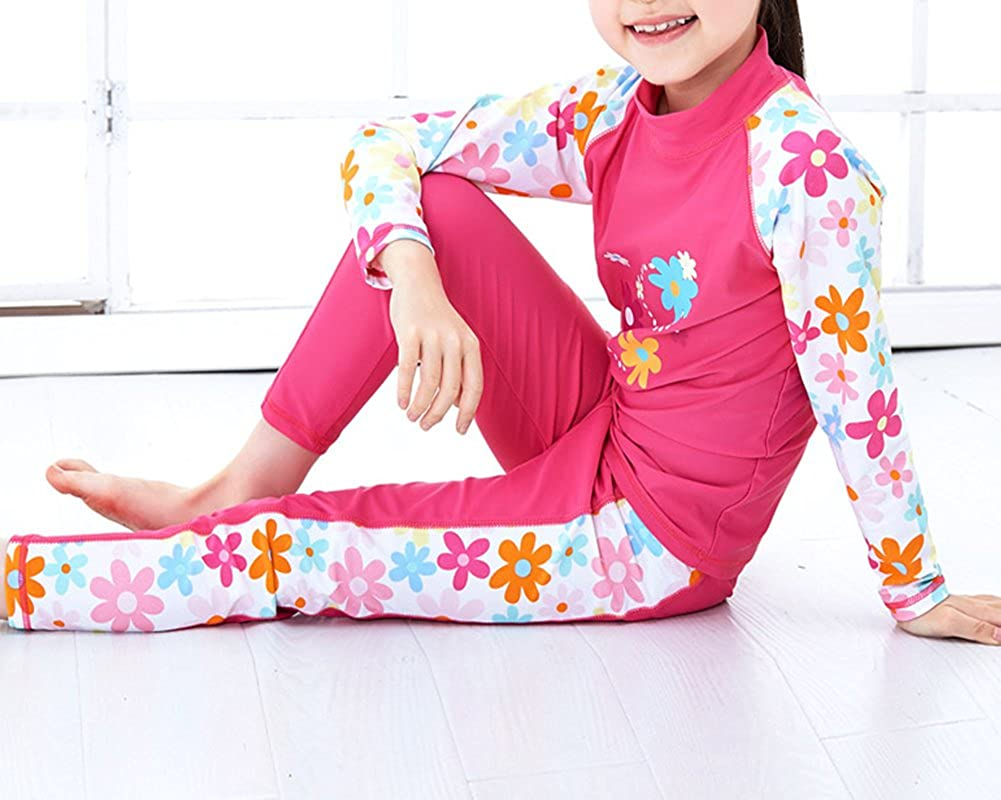Monvecle Little to Big Girls Long Sleeve 2-Pieces Sun Protective Rashgurad Set UPF 50+