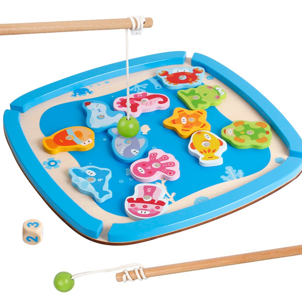 Kids Magnetic Wooden Fishing Games Play Set with 2 Fishing Poles Educational Toys for Toddlers Boys and Girls