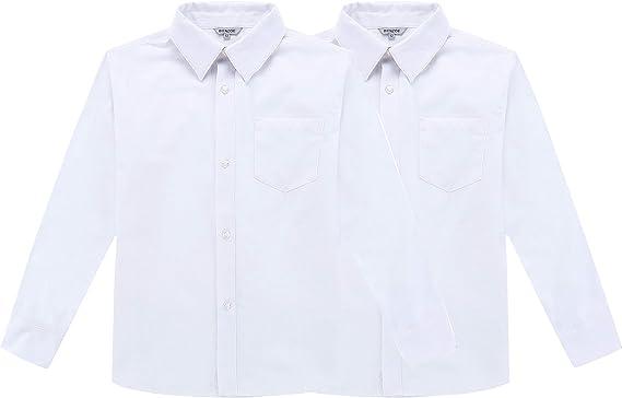 Bienzoe Niños Uniforme Escolar Manga Larga Oxford Camisa 2Pcs Paquete: Amazon.es: Ropa y accesorios