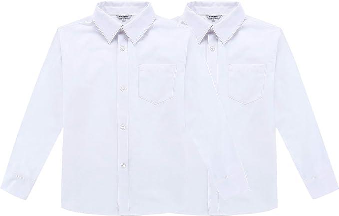 Bienzoe Ragazzi Uniforme Scolastica Manica Lunga Oxford Camicia
