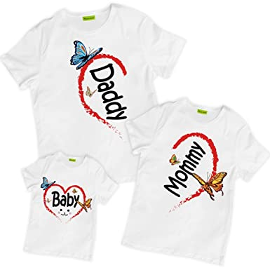 great discount large assortment in stock picontshirt Matching Family Hearts Mommy Daddy Baby T-Shirts White