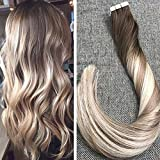 Ugeat 24inch Full Head Tape in Hair Extensions Balayage Dark Brown #4 Fading to Ash Blonde #18 with Blonde #22 Natural Glue in Ombre Human Hair Color 100% Real Human Hair 40Pcs 100Gram Review