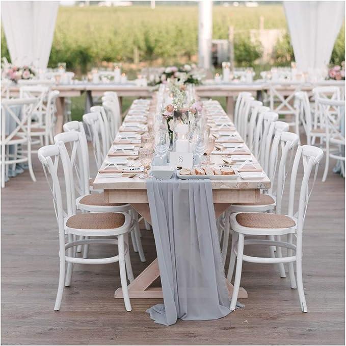 Soardream 1 Stück Grauer Chiffon Tischläufer 68 6 X 304 8 Cm Durchsichtiger Tischläufer Hochzeit Empfang Top Tischdekoration Küche Haushalt
