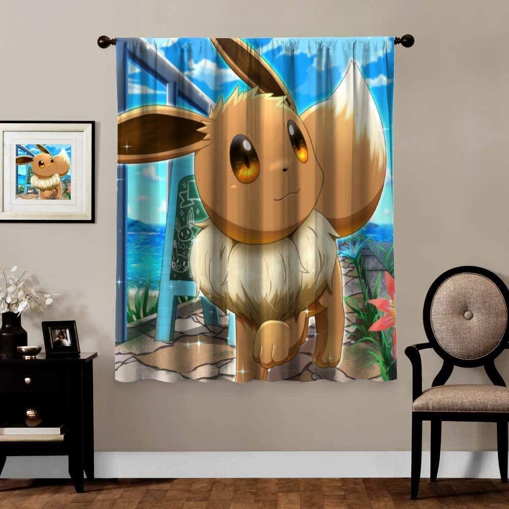 Poke-mon Cortinas opacas, Eevee (2), bolsillo para barra, cortinas térmicas para oscurecimiento para dormitorio, decoración de habitación de animales y niñas, 1 paneles, 183 x 160 cm