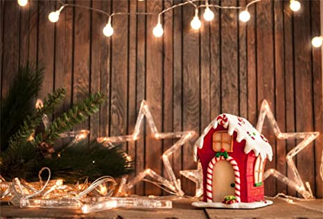 csfoto 8x6ft background gingerbread house star light on rustic wall photography backdrop christmas decoration holiday ornament