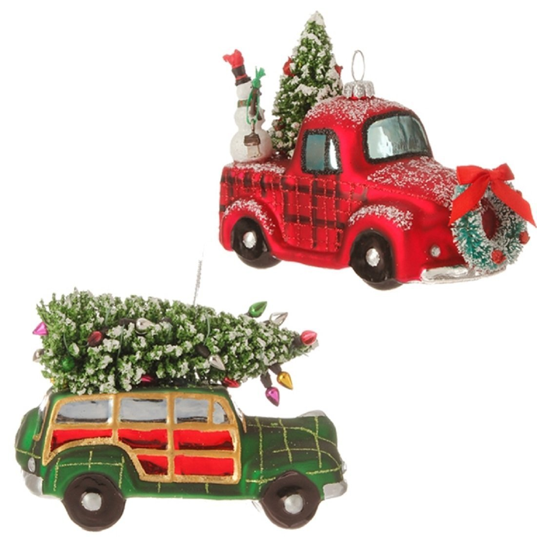 amazoncom raz imports christmas car and truck glass ornaments set of 2 kitchen dining - Christmas Decorations For Your Car