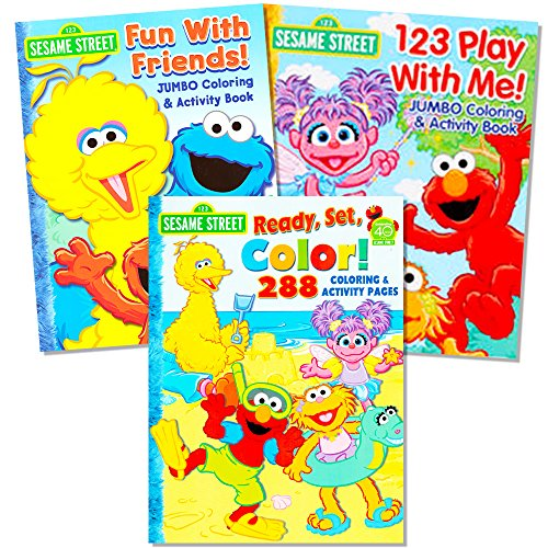 Sesame Street Coloring Book Super Set (3 Jumbo Books - 480 Pages Total Featuring Elmo, Cookie Monster, Big Bird and More!) - Giant Elmo Coloring Book