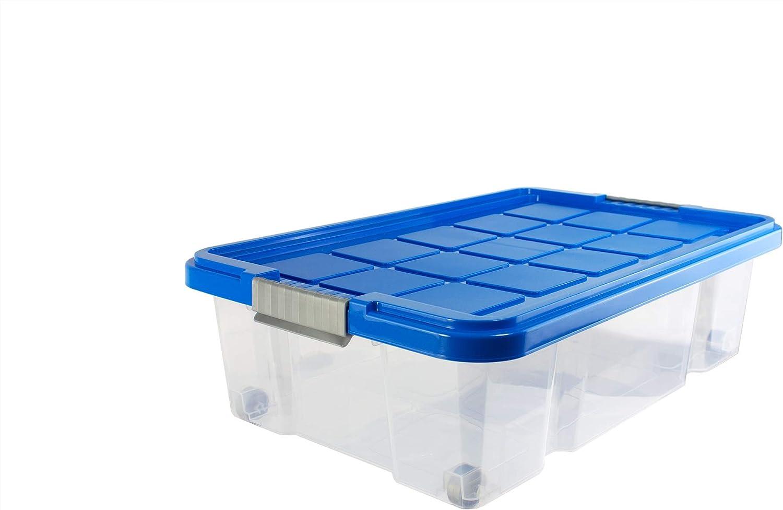 Unimet - Caja para debajo de la cama (con ruedas, 60 x 40 x 18 cm), transparente azul azur: Amazon.es: Hogar