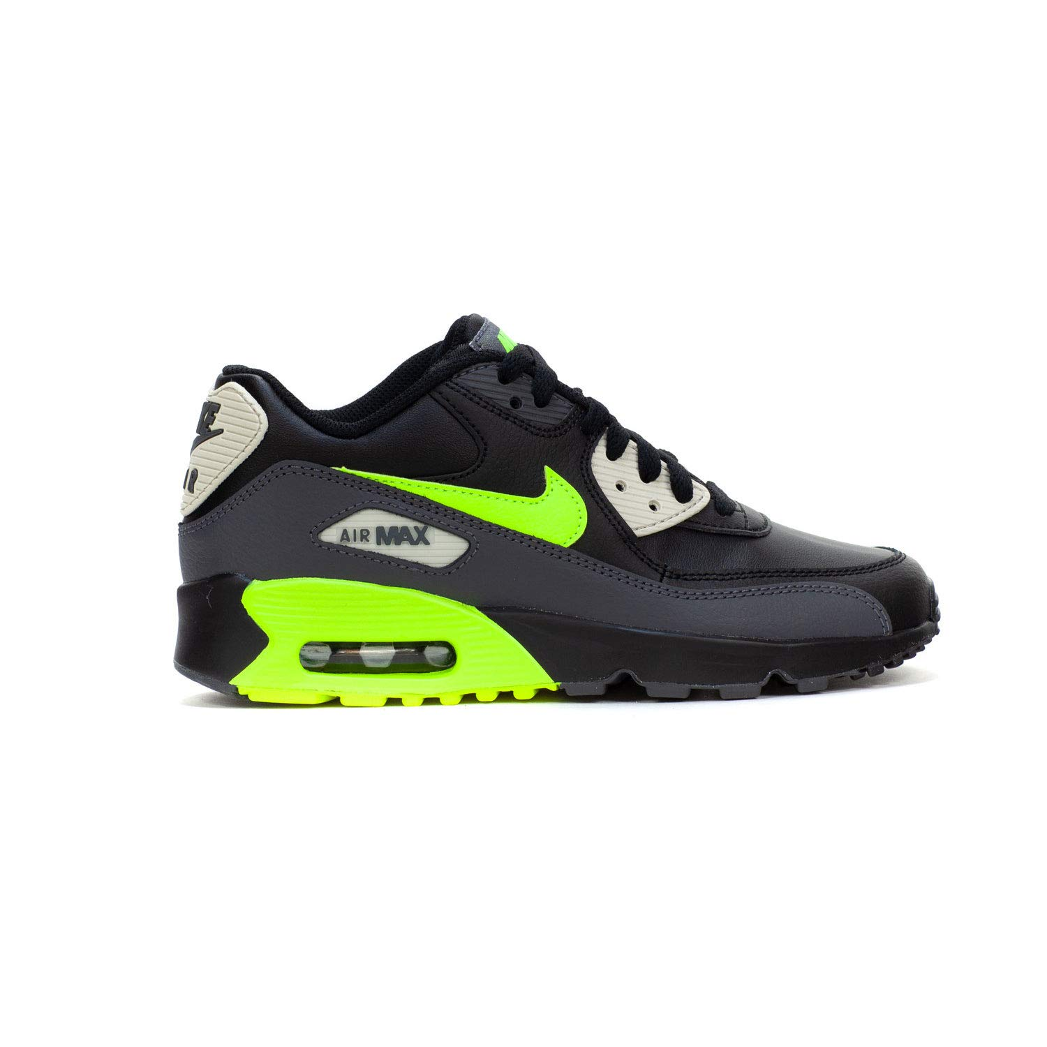 b05711f03e Galleon - Nike Air Max 90 Leather Kids Black Dark Grey/Volt-Black-Light  Bone 833412-023 (Size: 4.5Y)