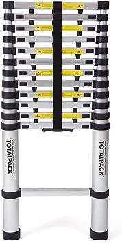Escalera telescópica Totalpack en aluminio de 2,60 m con bloqueador de seguridad y bolsa de