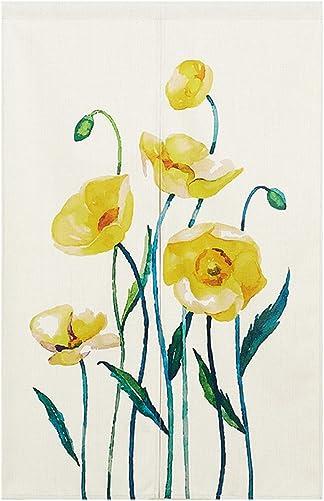 BAIHT HOME Cotton Linen Japanese Noren Doorway Curtain Tapestry with Yellow Flower Screen Door Blind 33.5 Width x 59.1 Long