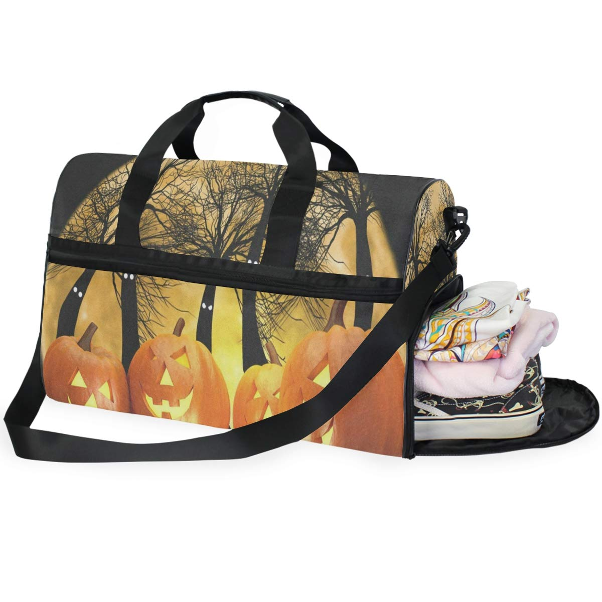 Hallowen Pumpkin Large Canvas shoulder bag with Shoe Compartment Travel Tote Luggage Weekender Duffle Bag