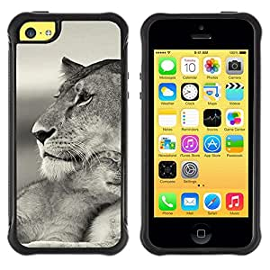Suave TPU GEL Carcasa Funda Silicona Blando Estuche Caso de protección (para) Apple Iphone 5C / CECELL Phone case / / Baby Mother Cub Lion Cute Black White /