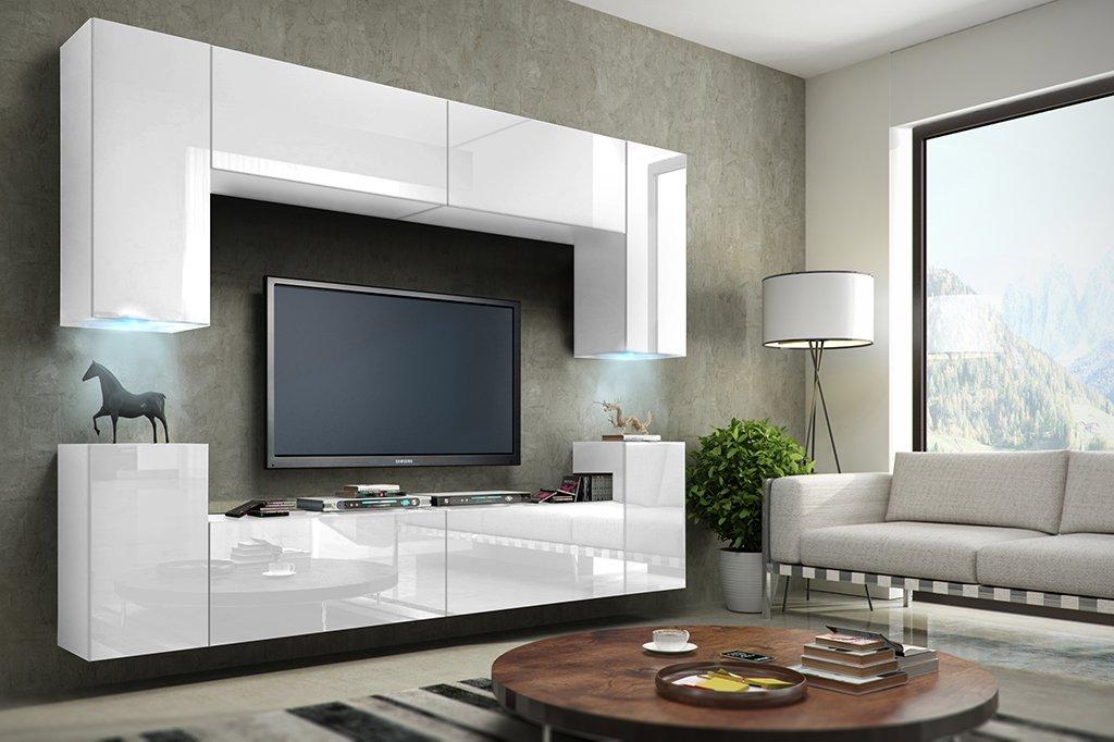 FUTURE 1 Wohnwand Anbauwand Schrankwand Möbel Wand TV Ständer Wohnzimmer  Hochglanz Schwarz / Weiß Beleuchtung