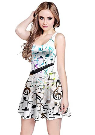 2a0a302899 CowCow Womens Music Notes Treble Clef Sleeveless Dress at Amazon ...