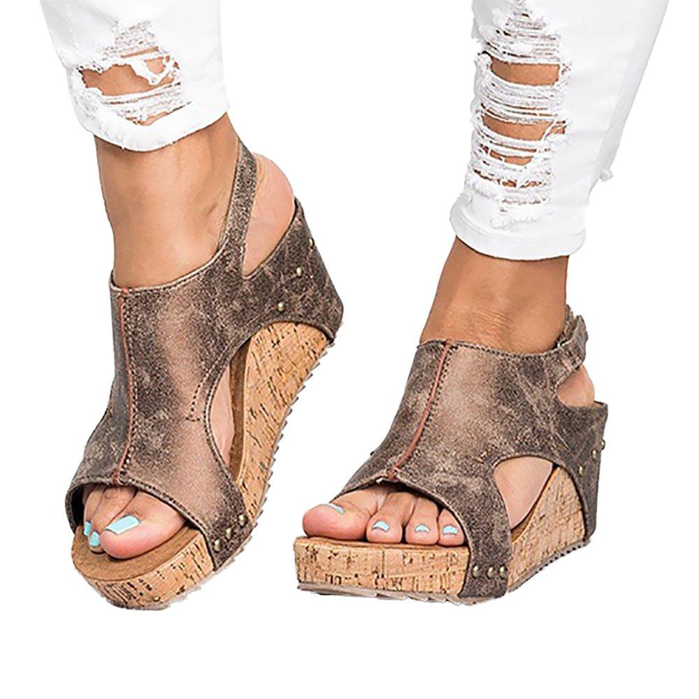 ANAFESTA Peep Toe Wedge Sandals for Women Platform Rome Gladiator Blocking Hook-Loop Summer Shoes B07DGR2JX1 5 B(M) US|Brown