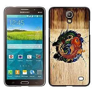 EJOY---Cubierta de la caja de protección para la piel dura ** Samsung Galaxy Mega 2 ** --Gold Fish Dragón Verde Naturaleza Fairytale Símbolo