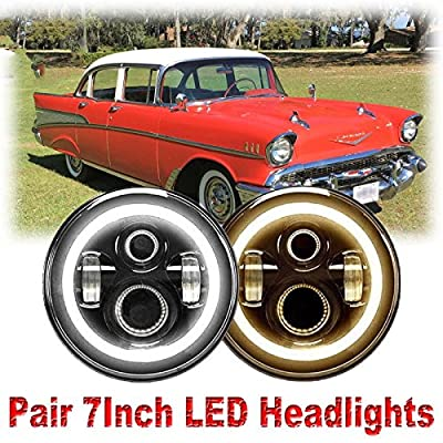 7 Inch For Chevy Truck 1947-1957 and 1962-1972 LED Round Headlight Halo Ring Angel Eyes Hi/Low Double Beam DRL Amber Turning Signal Lights Replacement 6000K 6012 6014 6015 H6024 H6017 60W 2Pcs