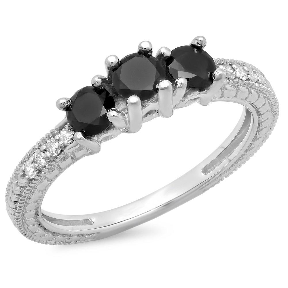 0.75 Carat (ctw) Sterling Silver Black & White Diamond Bridal 3 Stone Promise Ring 3/4 CT (Size 7)
