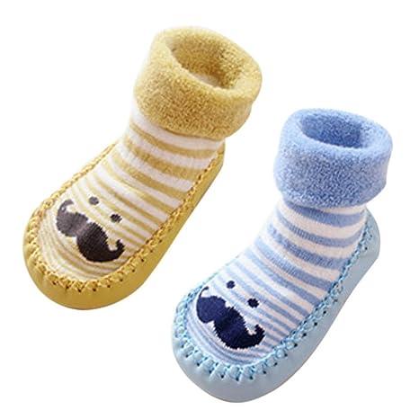 Happy Cherry - Zapatillas de Casa para Invierno para Bebé Niños Suave Calcetines Antideslizante Estampado Diseño