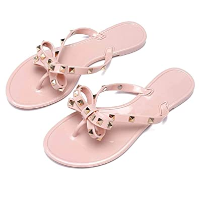 e93da4480 Utop Women s Rivets Bowtie Flip Flops Jelly Thong Sandal Rubber Flat Slipper  Summer Beach Rain Shoes Womens Gold Rivet Studded Bow Jelly Thong Flip Flop  ...