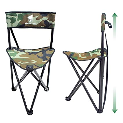 a1bfaf603ff8 Geertop Portable Folding Tripod Stool with Backrest Lightweight Outdoor  Hunting Chair Boat Cabin Seating Quick Seat Slacker Chair Camo Camping  Stool ...
