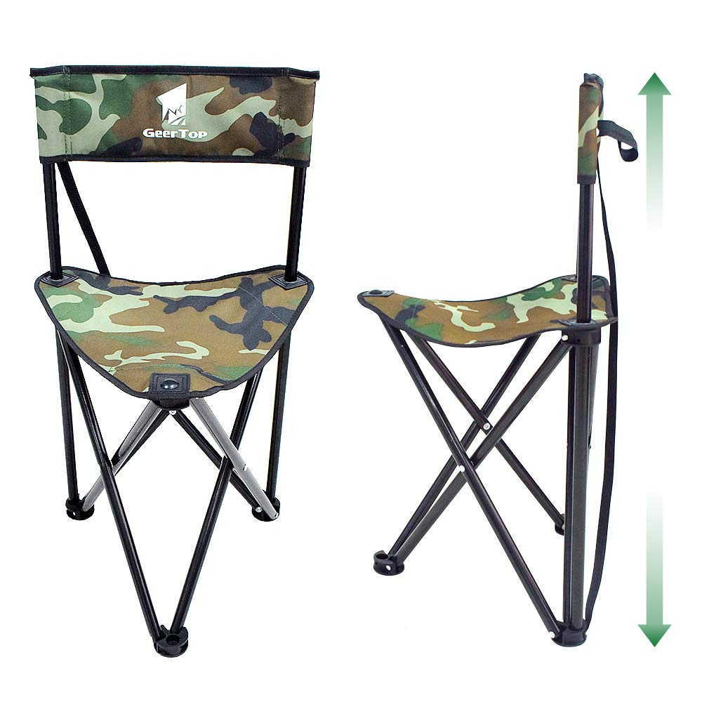 Geertop Portable Folding Tripod Stool With Backrest