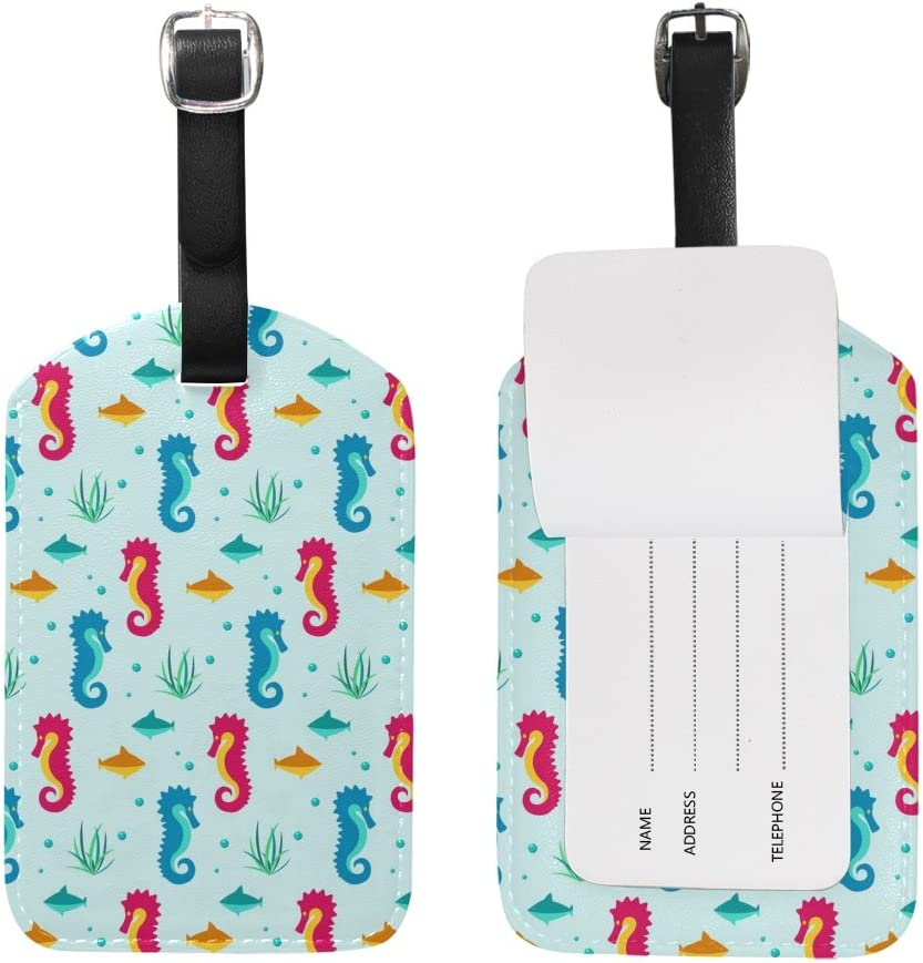 Chen Miranda Nautical Elements Seahorse Luggage Tag PU Leather Travel Suitcase Label ID Tag Baggage claim tag for Trolley case Kids Bag 1 Piece