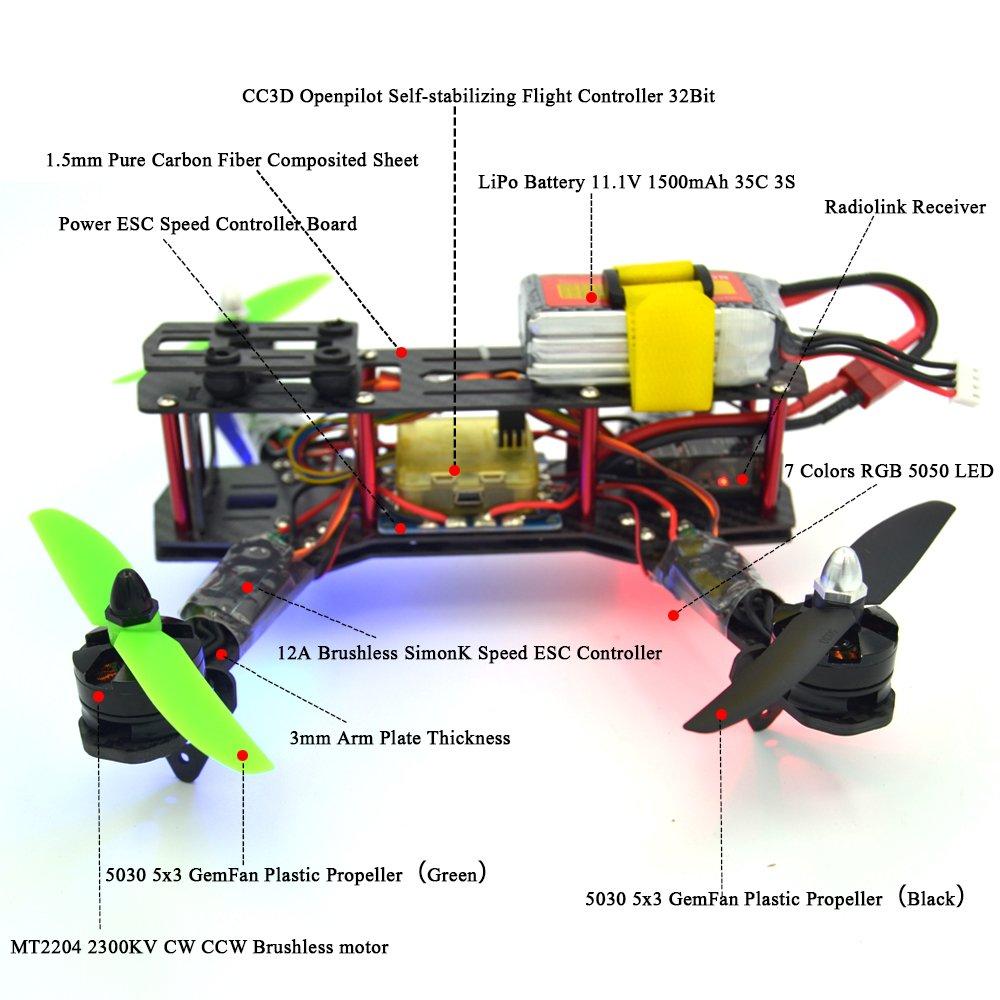 Lhi Full Carbon Fiber 250 Mm Quadcopter Race Copter Racing Drone Cc3d Wiring Diagram Power Frame Kit Rtf Flight Controller Mt2204 2300kv Brushless Motor Simonk 12a Esc