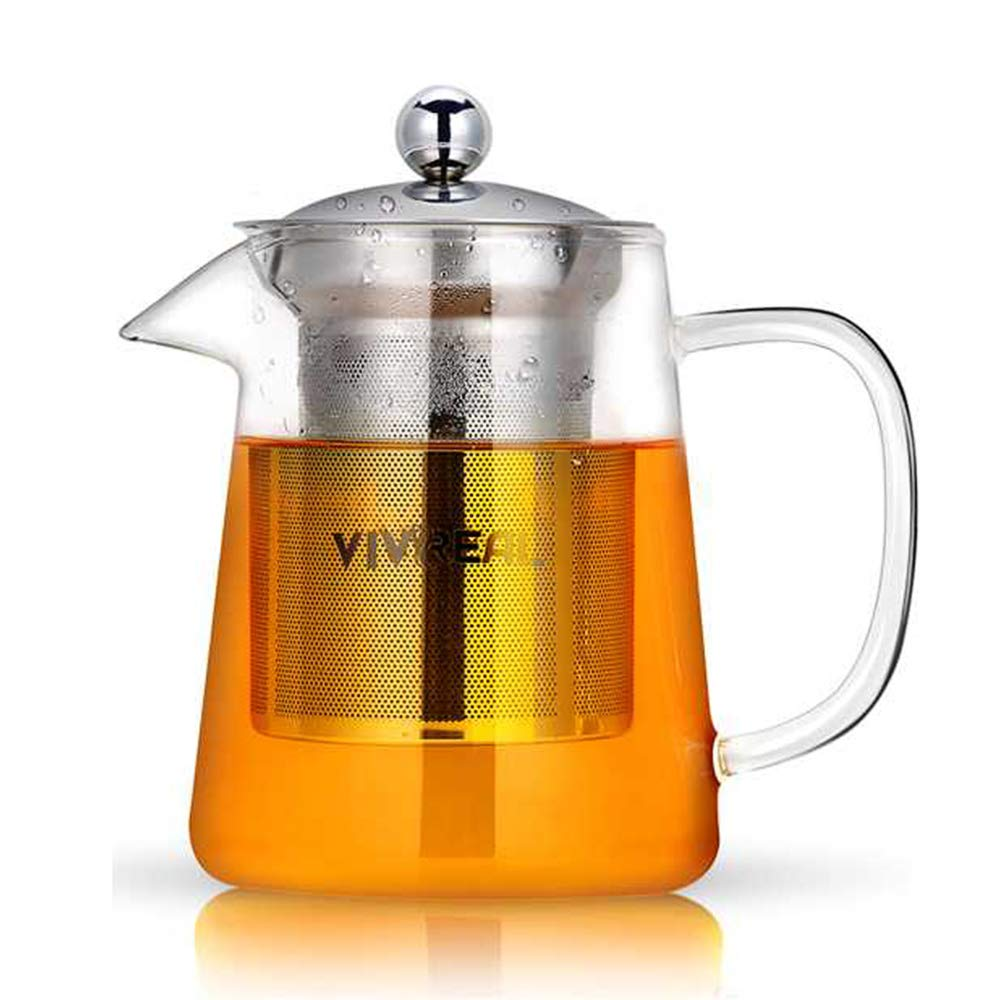 Glass Teapot - Tea Maker Tea Infuser, 304 Stainless Steel Infuser & Germany Clear Glass. Borosilicate Glass Tea Pot with Infuser for Blooming and Leaf Tea. 27 Ounce / 800 Milliliter as Teakettle