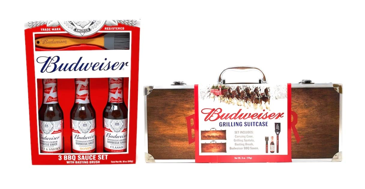 Budweiser Brewmaster's Premium Barbecue Set Bundle with 4 BBQ Sauces, 2 Basting Brushes, Grilling Spatula, and a Wood Clydesdale Carrying Case