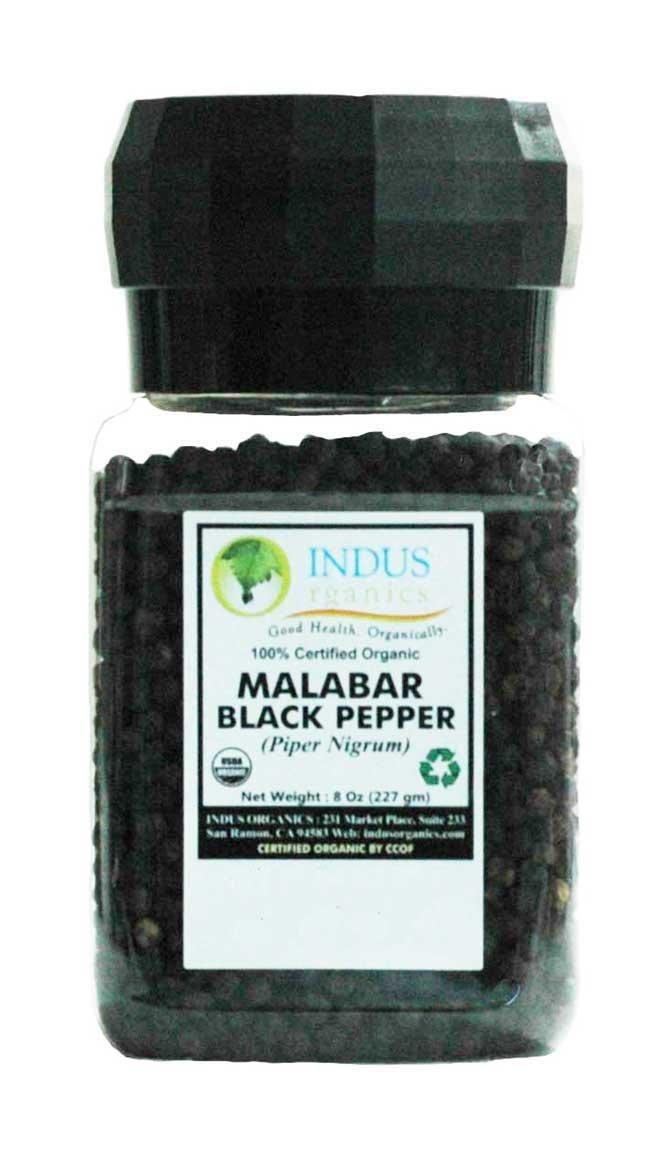 Indus Organics Malabar Black Peppercorns, 8 Oz Jar Grinder, Premium Grade, High Purity, Freshly Packed by Indus Organics