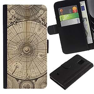 KingStore / Leather Etui en cuir / Samsung Galaxy S5 Mini, SM-G800 / Ingeniería Dibujo Pergamino