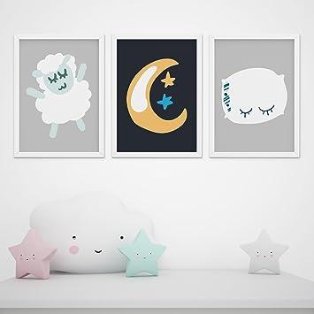 3er Set Kinderzimmer Babyzimmer Gute Nacht Poster Wanddeko