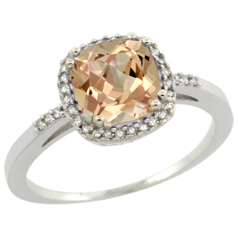Sterling Silver Diamond Morganite Ring Cushion-cut 7x7mm, 3/8 inch wide, size 7