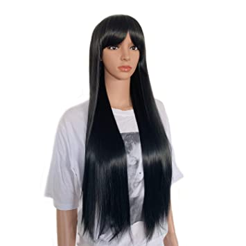 26/'/' Women Black Long Straight Wig Heat Resistant Hair Replacement Costume Wig