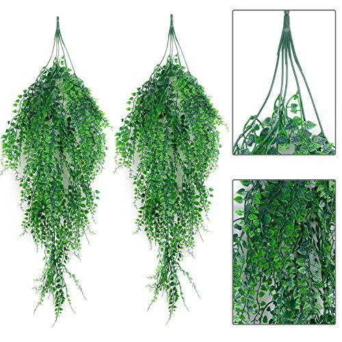 Outgeek Artificial Hanging Plants, 2PCS Artificial Green Ivy Vine Artificial Shrubs Hanging Vine Plant for Home Garden Outdoor Wall Decoration by Outgeek
