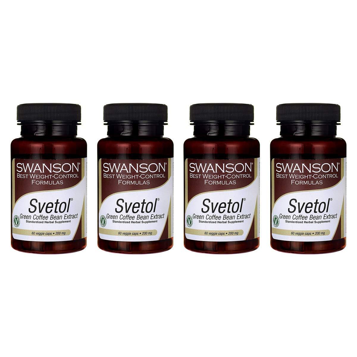 Swanson Svetol Green Coffee Bean Extract 200 Milligrams 60 Veg Capsules (4 Pack)