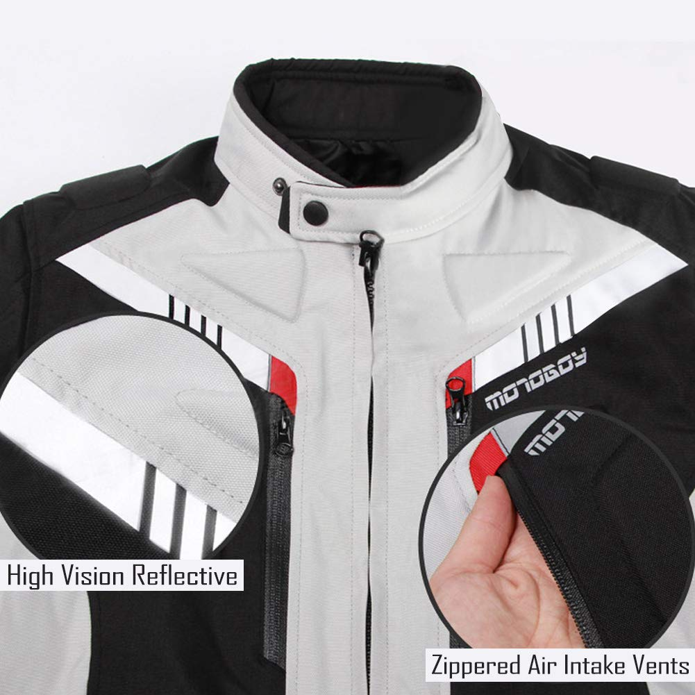 All Seasons Waterproof Motorcycle Riding Jacket,Removable CE Armored Hi-Vis Reflective Thermal Motorbike Jacket for Men M, Black