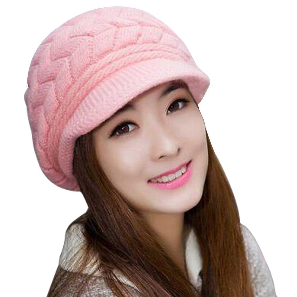 AINOW Women Winter Warm Knit Hat Wool Snow Knitting Ski Caps With Visor