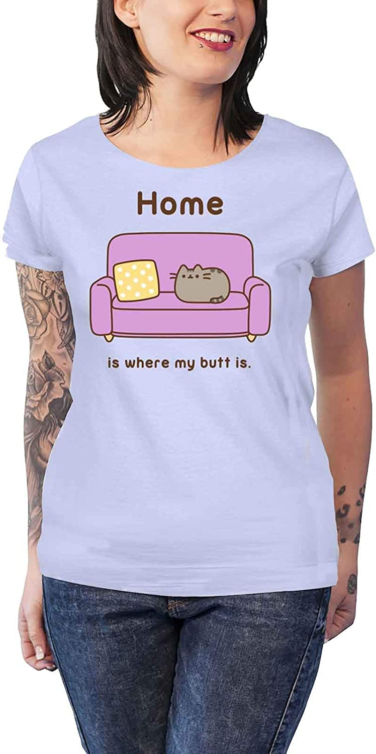 Pusheen 'Home' (Blue) Womens Fitted T-Shirt (large)