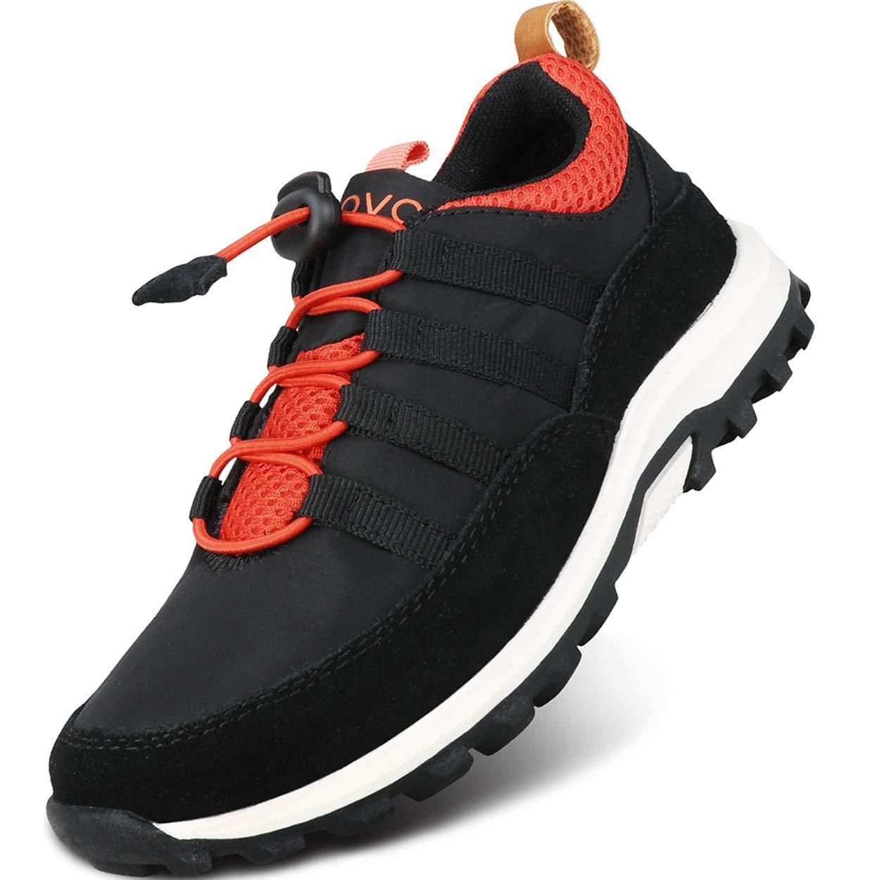 UOVO Boys Shoes Boys Running Sneakers Tennis Hiking Shoes Kids Athletic Outdoor Sneakers Slip Resistant(Little Boys/Big Boys) (3.5 M US Big Kid, Black)