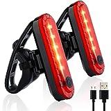 Luz Trasera para Bicicleta, LETTURE 2PACK Luz de Destello de Seguridad con 4 Modos de iluminación USB Recargable Ultra Brilla