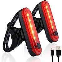 Luz Trasera para Bicicleta, LETTURE 2PACK Luz de Destello de Seguridad con 4 Modos de iluminación USB Recargable Ultra…