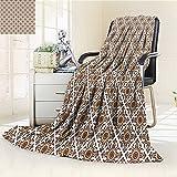 AmaPark Digital Printing Blanket Thai Art Culture Stylized Lines Dots Folk Asian Design Redwood White Summer Quilt Comforter