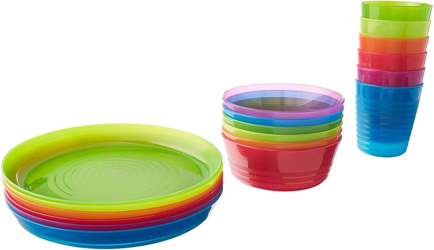 Ikea - Juego de cuencos de color para niños, vasos y platos ...