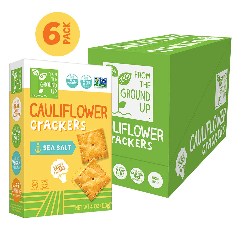 Real Food From the Ground Up Cauliflower Crackers - 6 Pack (Sea Salt, Crackers) by REAL FOOD FROM THE GROUND UP