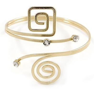 Avalaya Gold Tone Square Motif Upper Arm, Armlet Bracelet - 27cm L